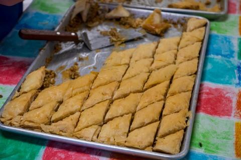 Homemade baklawa (baklava)