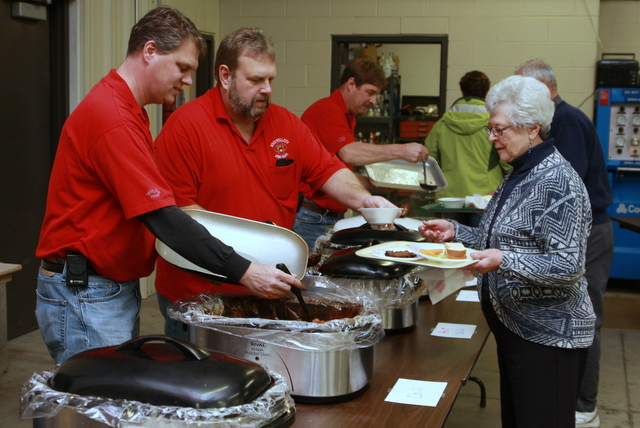 firefighters serving soup in Iowa