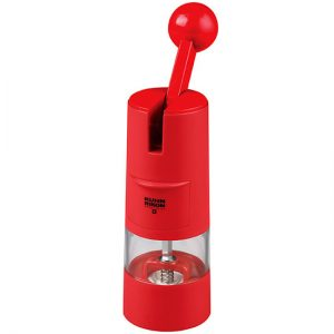 Rachet-style pepper mill in red!