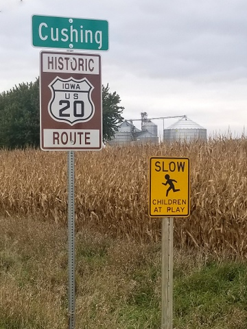 Historic Route 20 sign near Cushing, Iowa
