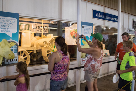 Visitors snapped photos of the iconic Waterloo Boy butter sculpture 2018 Iowa State Fair.