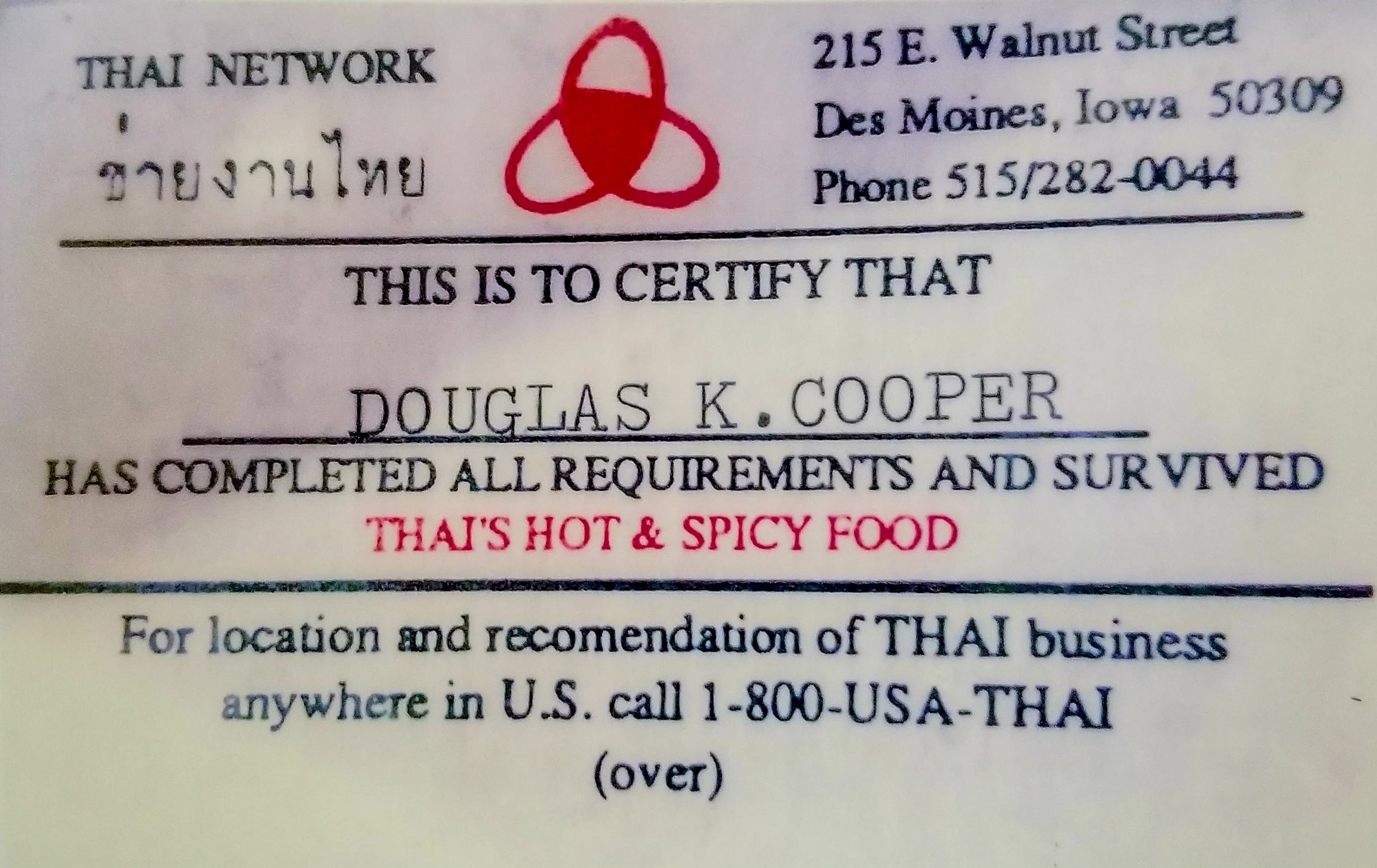 Taste of Thailand card